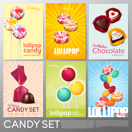 Realistic Colorful Candy Shop Brochures Set Фото со стока