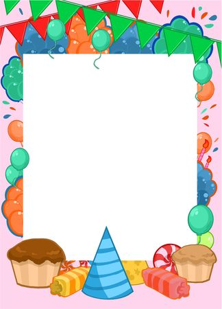 Happy Birthday invitation bright template with frame for text and colorful party elements vector illustration