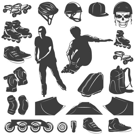 Roller Skater Black White Icons Set Illustration