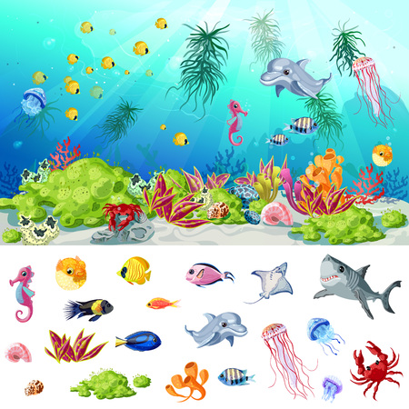 Cartoon Sea And Ocean Life Concept