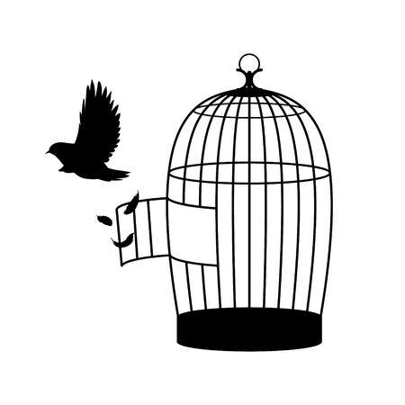 Monochrome Bird Silhouette Concept Illustration