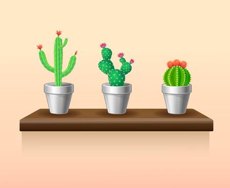 Colorful Light Houseplants Set Illustration