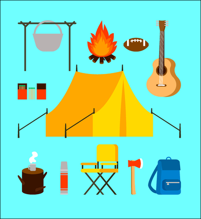 Flat Camping Elements Collection