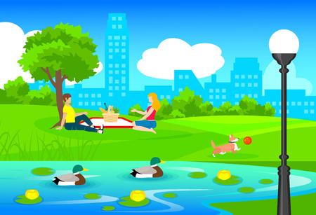Picnic In City Park Template Ilustração