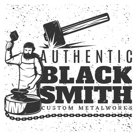Monochrome Vintage Blacksmith Template Illustration