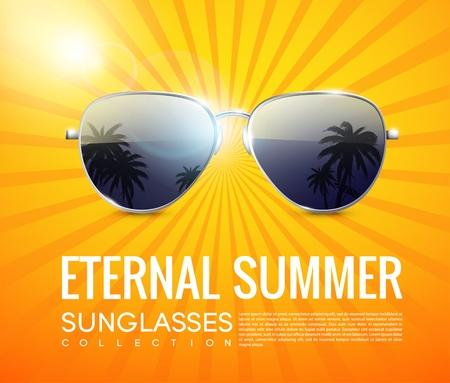 Realistic Fashionable Aviator Sunglasses Poster