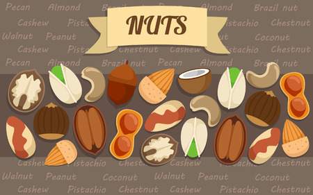 Flat nuts elements collection with brazil peanut almond walnut pistachio chestnut cashew pecan acorn coconut sorts vector illustration Imagens - 78608669