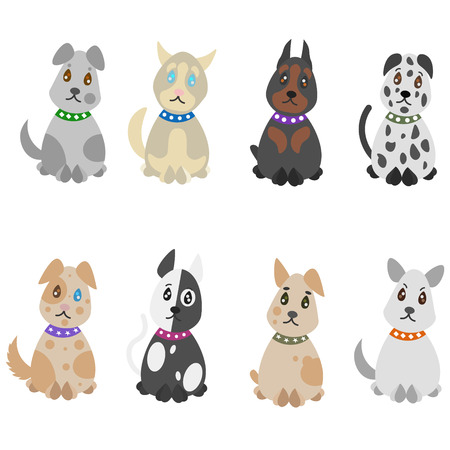 Colorful hand drawn pets set with dogs of different breeds on white background isolated vector illustration Illustration