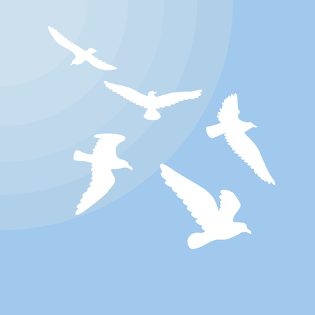 White gulls silhouettes concept with group of flying birds and sun on blue light background vector illustration Illustration