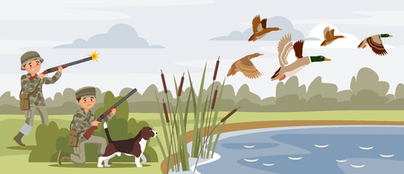 Colorful hunting horizontal banners with hunters shooting flying wild ducks near pond vector illustration Illustration
