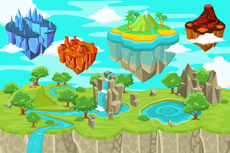 Isometric game nature landscape template with waterfall mountains lake and flying ice magma volcano tropical islands vector illustration Illustration