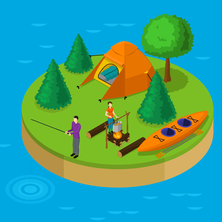 sleeping bags: Isometric water active recreation concept with fishing man cooking woman boat tent trees on island vector illustration