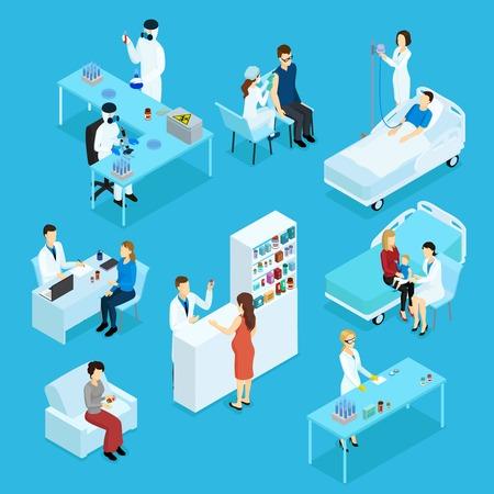 医師患者医療準備試験治療相談薬局分離ベクトル イラストの人々 や医療等尺性セット  イラスト・ベクター素材