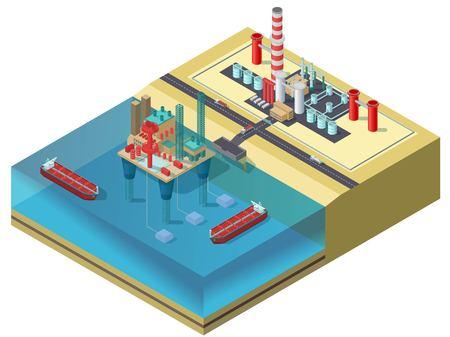 Il concetto isometrico di industria petrolifera variopinta con l'autocisterna della piattaforma petrolifera dell'acqua spedisce i camion e l'area di stoccaggio vector l'illustrazione Archivio Fotografico - 78620222