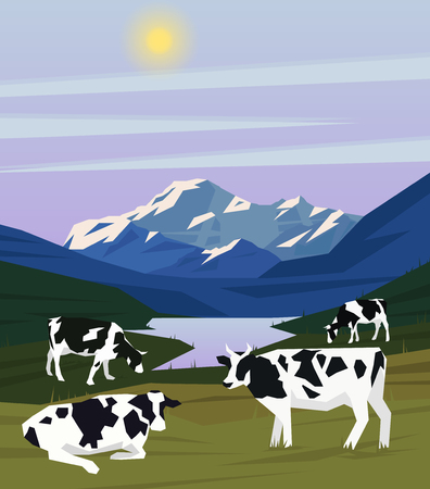 Colorful drawing nature landscape template with lake mountains and cows grazing on meadow vector illustration