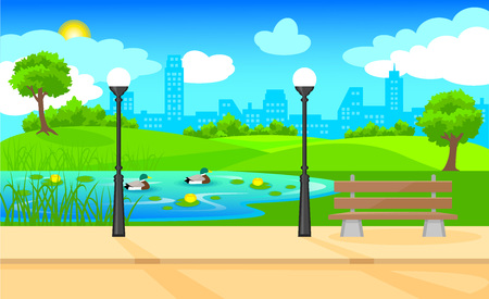Light city park landscape background with bench lanterns water lily ducks swimming in pond and plants vector illustration