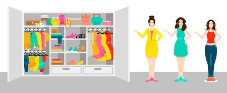 Woman outfit elements concept with girls standing near wardrobe with clothes and accessories vector illustration Illustration