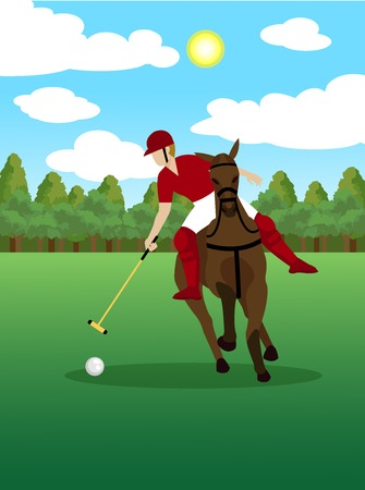 Colorful polo sport template with player riding horse and holding club on green field vector illustration
