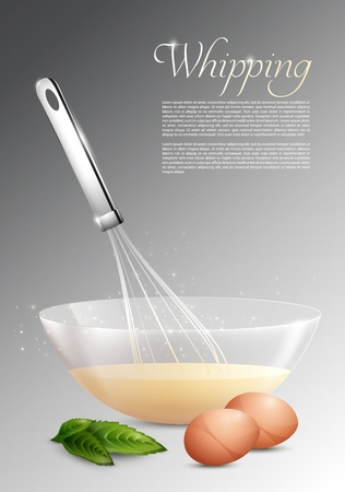 Realistic whipping process concept with whisk eggs leaves and bowl of dough on gray background isolated vector illustration