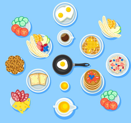Traditional breakfast food set with vegetables fruits omelette cookie waffles toasts pancakes honey coffee muesli cheese salami isolated vector illustration