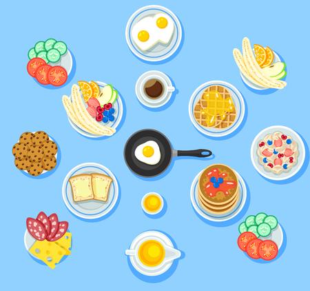 Traditioneel die ontbijtvoedsel met van de de omeletkoekjes van groenten de vruchten van de de toostspannekoeken van de wafelskoekjes van de de koffiemuesli van de honingkoffie salami geïsoleerde vectorillustratie wordt geplaatst