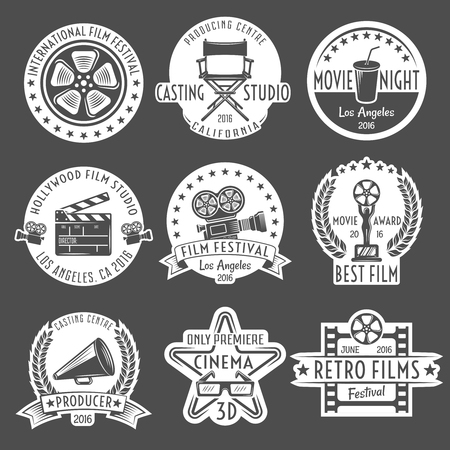 Cinema white emblem or label set round and in form of figures with ribbons vector illustration Ilustracja