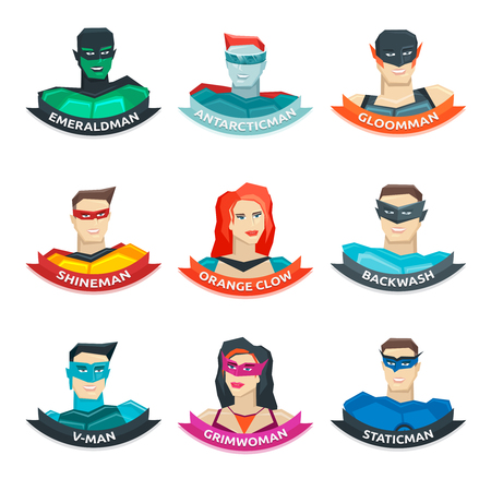 Superhero avatars collection with men and women in colorful clothing ribbons with names isolated vector illustration Illustration