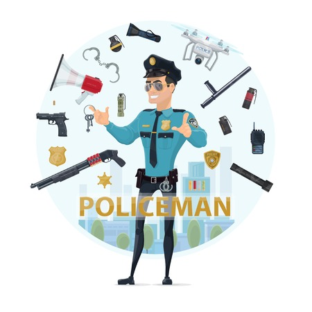 Police officer elements round concept with pistol shotgun grenades baton speaker radio badges handcuff flashlights quadrocopter isolated vector illustration