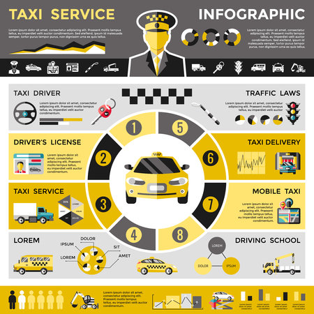 Colored taxi service infographic concept with diagram of vehicles traffic laws driver license mobile application vector illustration