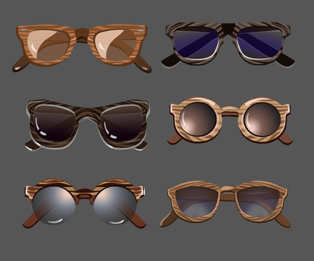 Trendy fashionable hipster sunglasses set with wooden rims and colorful glasses on gray background isolated vector illustration