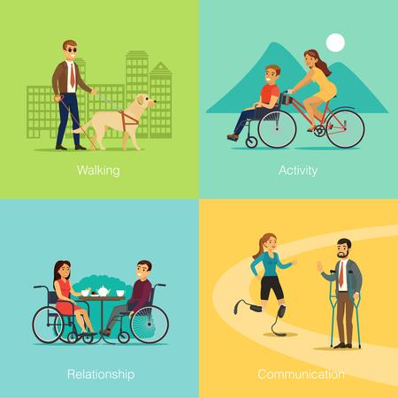 障害者正方形犬傷病ベクトル図間のロマンチックな関係およびコミュニケーションの移動について特別な自転車と歩く盲目の男の概念