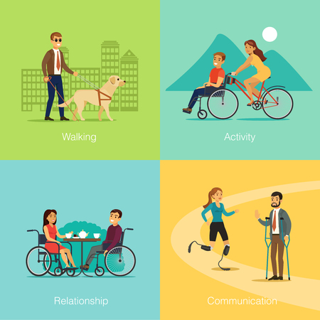 Disabled people square concept of blind man walking with dog special bicycle for traveling romantic relationship and communication between invalids vector illustration