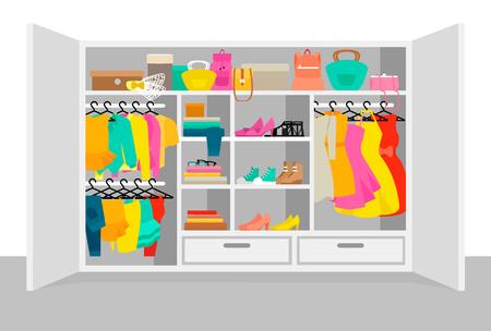 Colorido concepto de elementos de vestuario de mujer con vestidos faldas blusas blusas jeans calzado bolsos gafas de sol vector illustration Foto de archivo - 78912687