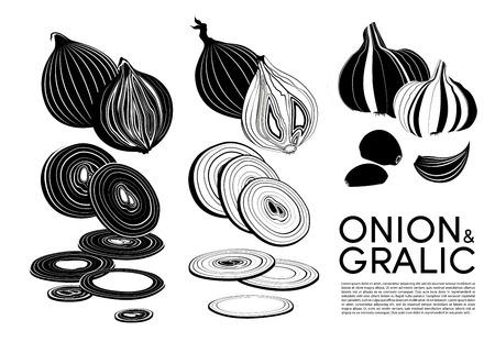 Monochrome organic vegetables icons set with cutting fresh onion and garlic isolated vector illustration Ilustração