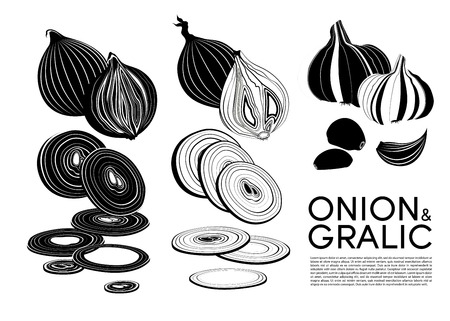Monochrome organic vegetables icons set with cutting fresh onion and garlic isolated vector illustration Illustration
