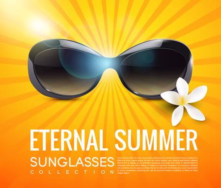 Stylish modern sunglasses template with text and tropical flower on light orange sunburst background vector illustration
