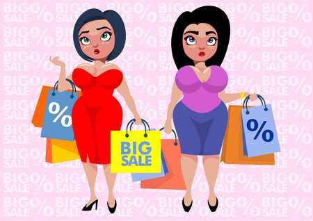 Het kleurrijke plus malplaatje van de groottemanier met vrouwen die het winkelen zakken op roze verkoop en korting vectorillustratie houden als achtergrond