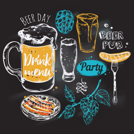 Sketch beer round composition with icon set combined in big beer round vector illustration Ilustrace
