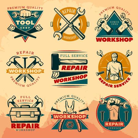 Repair Workshop Labels Иллюстрация