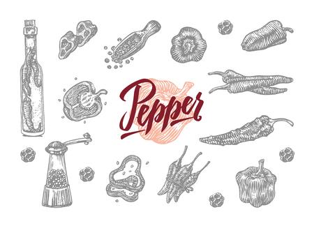 Hot Pepper Elements Set 向量圖像