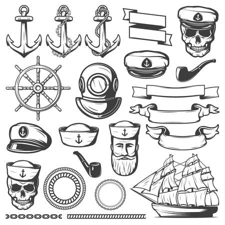 블랙 그린 된 격리 된 빈티지 선원 해군 아이콘 집합 및 흰색 배경 벡터 일러스트 레이 션에 리본