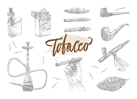 Hand Drawn Tobacco Elements Set