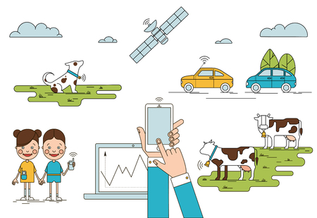 Colorful global positioning system concept with mobile laptop children holding phones cows dog cars satellite isolated vector illustration Illustration