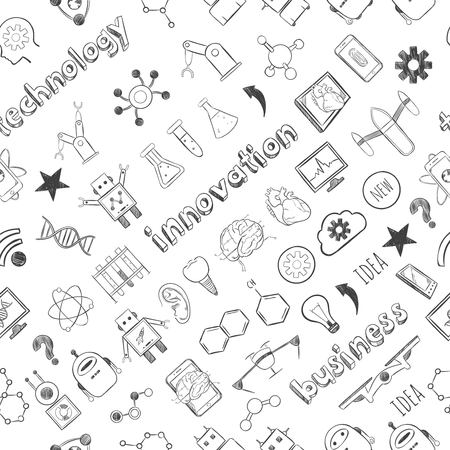 Hand drawn technology innovations seamless pattern with business scientific elements and icons vector illustration Ilustrace