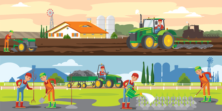 De landbouw en landbouw horizontale banners met voertuigen van landbouwers de landbouwwerken en materiaal vectorillustratie