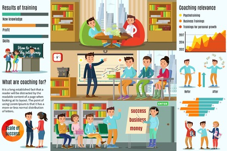 Coaching Infographic Horizontal Banners with psychological business personal development trainings diagrams and charts vector illustration Çizim