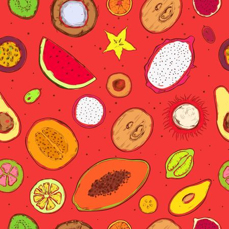 Colored doodle exotic fruits seamless pattern with fresh tropical products on bright red background vector illustration.