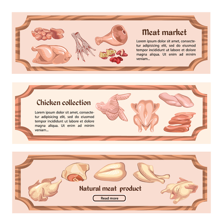 Colored chicken meat horizontal banners with text and fillet legs brisket liver wings feet gizzard parts vector illustration Illustration