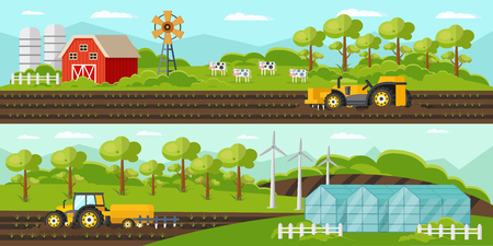Kleurrijke landbouw horizontale banners met de tractoren van de landbouwbedrijfschuurwindmolen het oogsten serre en koeien vectorillustratie