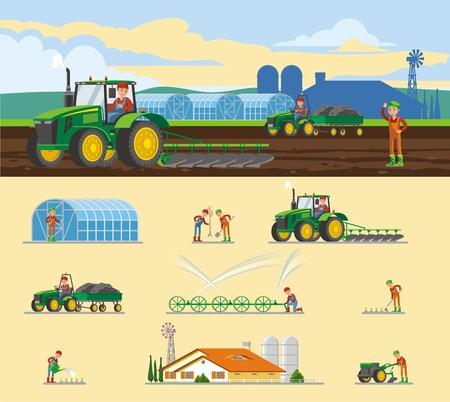 Concept d'agriculture colorée avec différents types de travaux saisonniers agricoles et éléments d'illustration vectorielle isolée Vecteurs